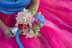 bridesmaid bouquet pink and blue