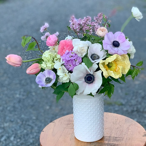 Deluxe Mother's Day arrangement in hobnail cylinder vase