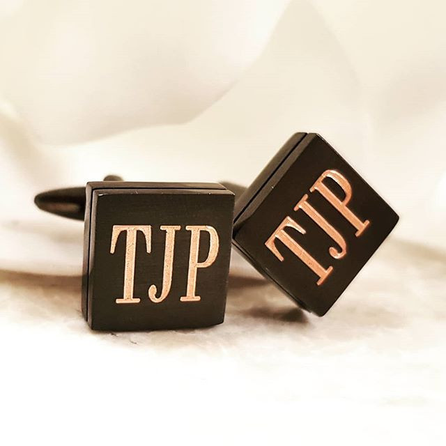Personalised cufflinks with gold undertone