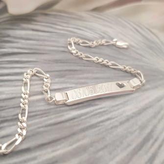 Sterling silver engraved ID bracelet