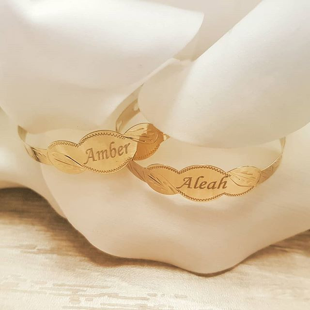 Engraved 9ct Yellow Gold baby bangles