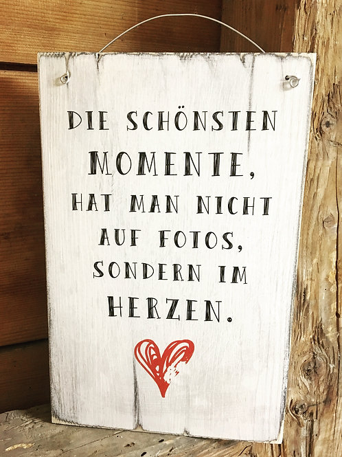 Holzschild MOMENTE