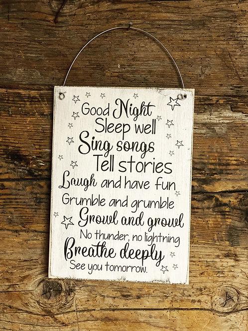 Holzschild GOOD NIGHT