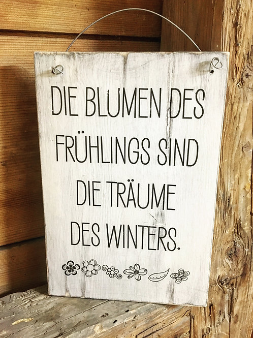 Holzschild BLUMEN FRÜHLING