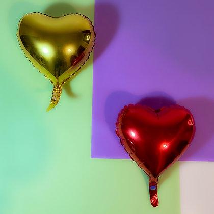 """Balão foil coração 9"""" - Embalagem com 5 unidades"""