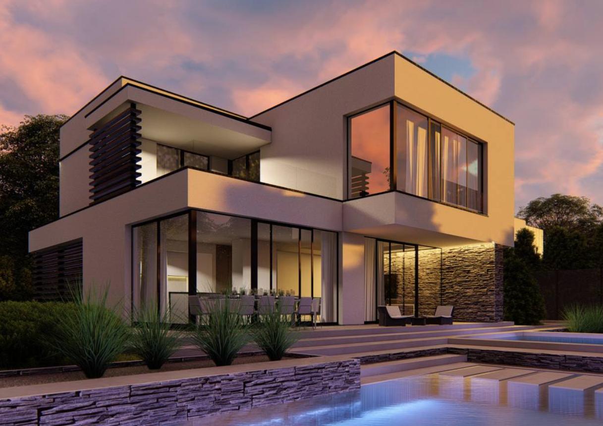 Maison toit plat design piscine