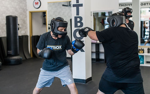 FitFight boxing drills and sparring class at Fitbox Workout in Sherman Oaks, CA
