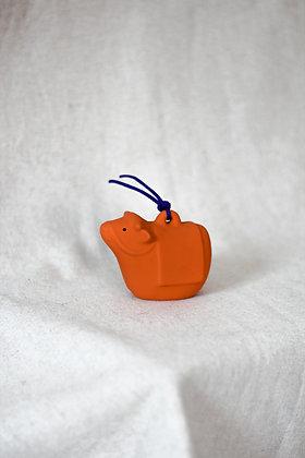 Clochette - Vache en céramique orange
