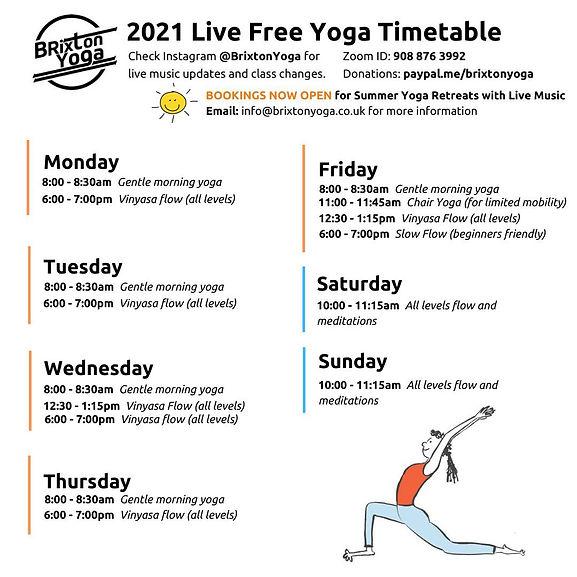 Summer Yoga Timetable 2021