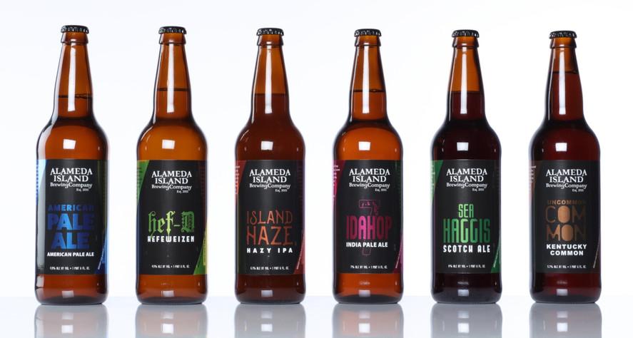 Alameda Island Brewing Company Bottle Labels POP