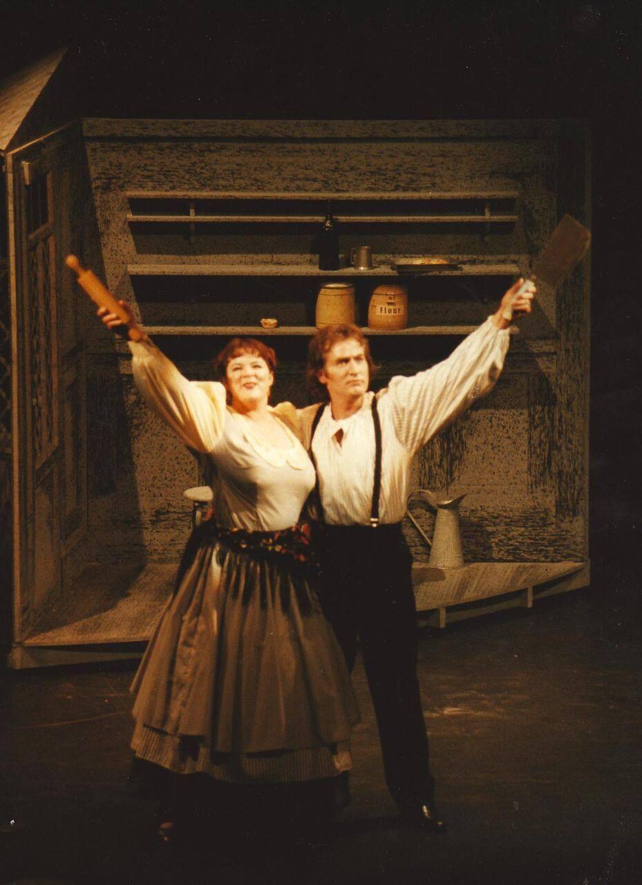 Mrs Lovett (Maxine Montgomery) and Sweeney Todd (Damian Muller)