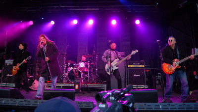 The Carpet Frogs on stage at the Grey Cup