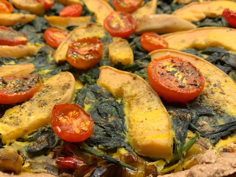 Spinat-Lauch-Kuchen mit Quitten und Chillies (oder was du sonst gerade noch zu verwenden hast)