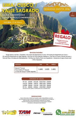 Lima Cusco Valle Sagrado Semana St.