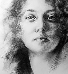 portrait au fusain, dessin expressif, dessin en ombres et lumière, noir et blanc, trait et matière