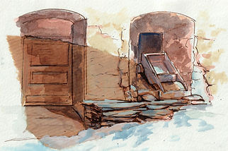 croquis aquarelle dessin peinture carnet de voyage, sketch couleurs gouache, feutres, lumière,