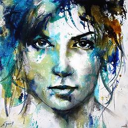 portrait en technique mixte encres de couleur, fusain ,acrylique peinture figurative,peinture expressive