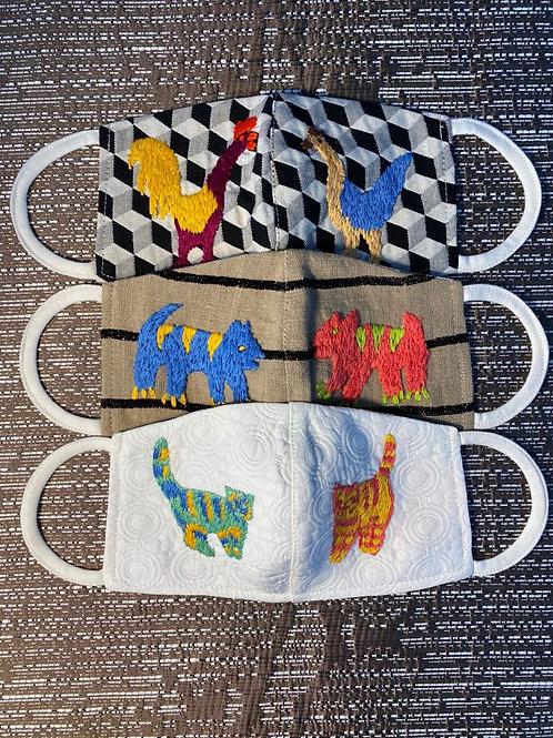 Riku Hand Embroidered Mask Set