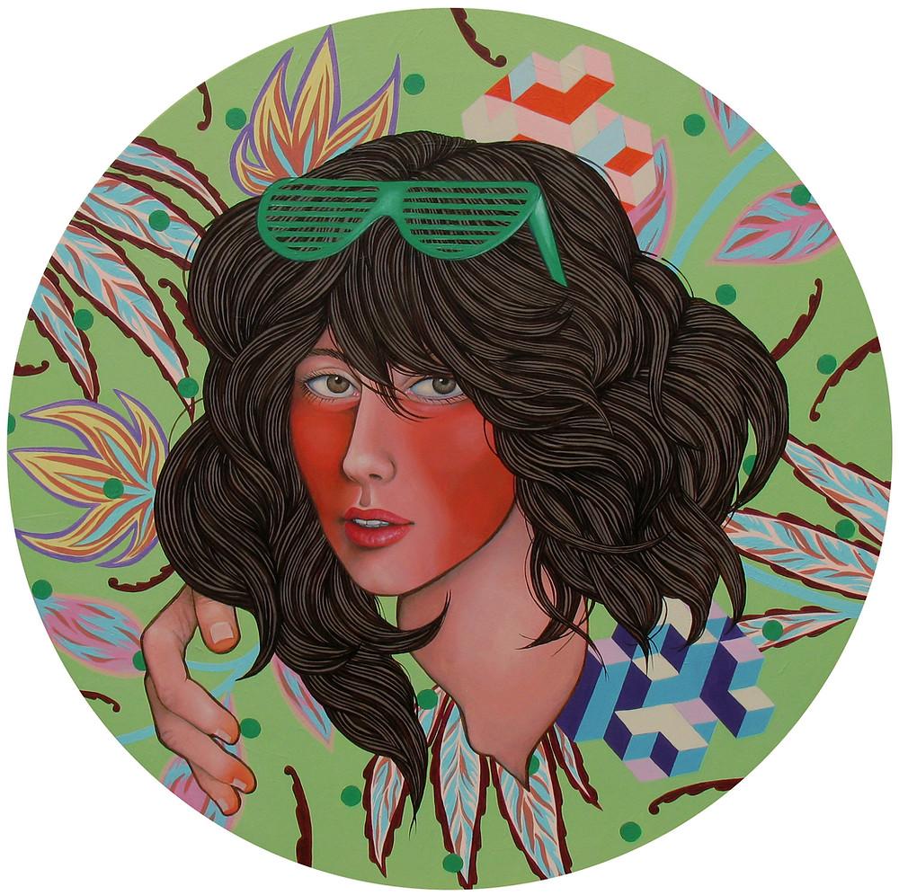 """""""Riviera"""", acrilico su tela rotonda, 800 EUR (sconto disponibile per questo dipinto, solo per gli iscritti alla newsletter - iscriviti alla pagina CONTATTI sul mio sito)"""
