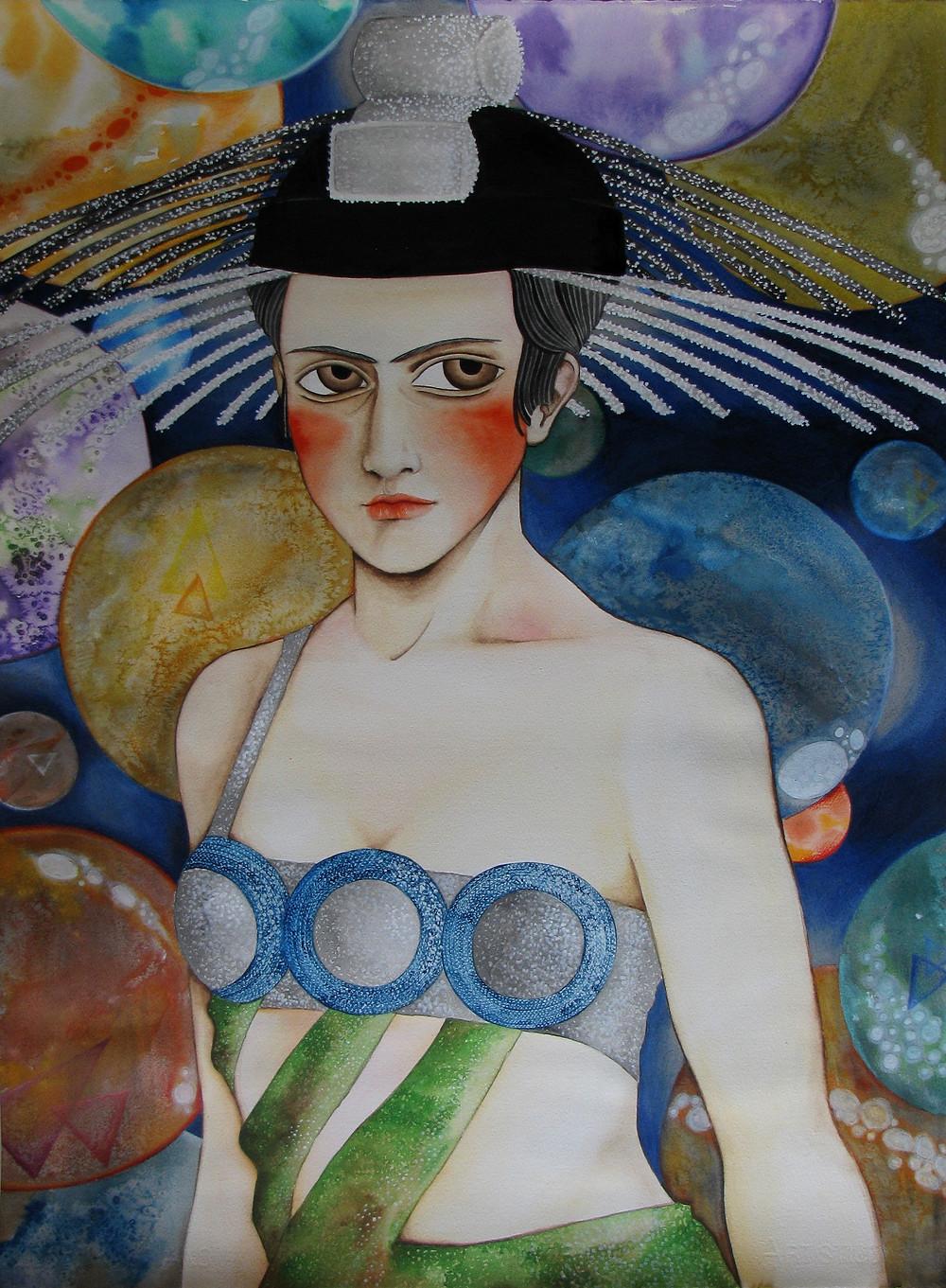 """""""Aelita, queen of Mars"""", watercolor on paper, 56x76 cm"""