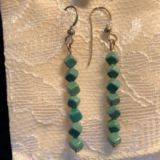 Green Turquoise Cubes Earrings