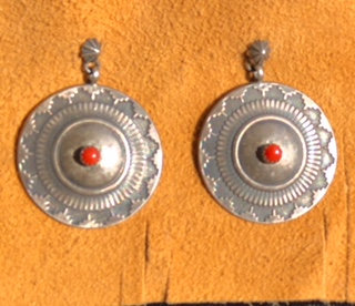 Sterling disks with Red Coral