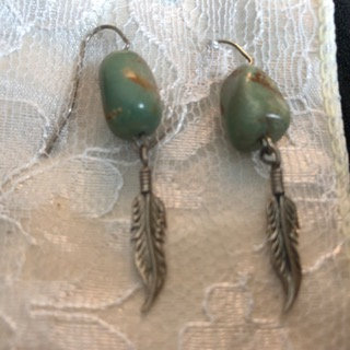 Green Turquoise with Feather