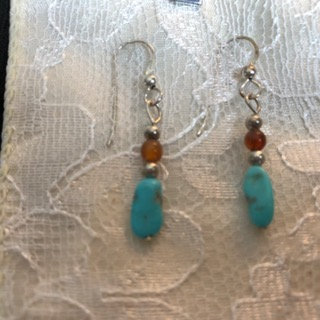 Amber over a turquoise nugget earrings
