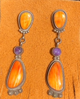 Spiney Oyster and Sugilite Navajo Made Dangles
