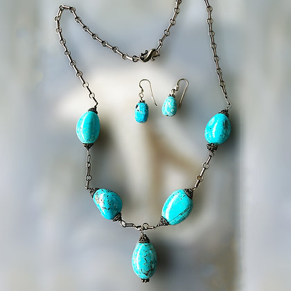 Five Turquoise nuggets necklace