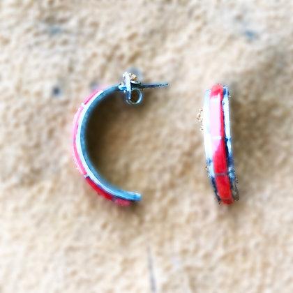 Half Circle Red Coral Earrings