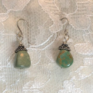 Asymmetric Green Turquoise Earrings