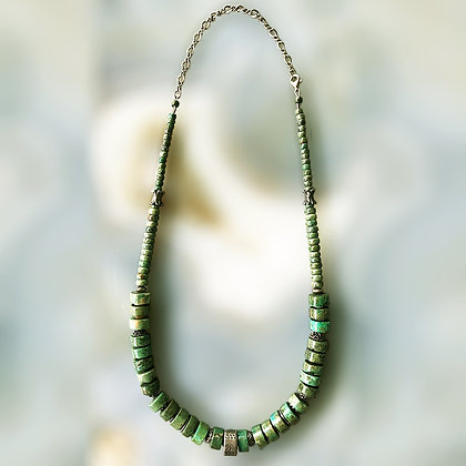 Old style disk beads turquoise necklace
