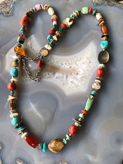 Semiprecious stones & various shell beads necklace