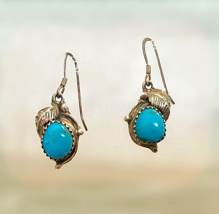 Navajo Made Turquoise and Sterling Earrings