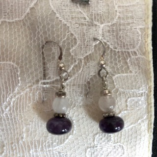 Amethyst and rose quartz earrings