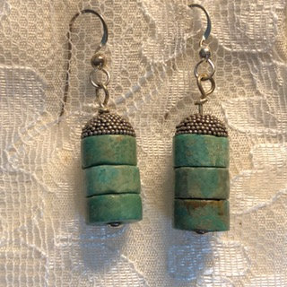 Old Style Greenish Turquoise Disk Beads