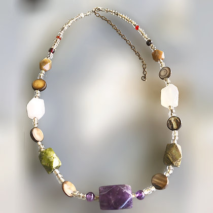 Chunky contemporary faceted stone necklace