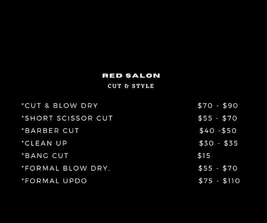 RED SALON CUT &  DRY $70 - $90 SHORT SCI