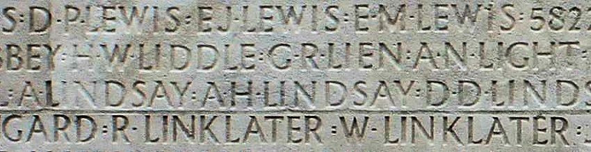 A portion of the Vimy Memorial showing the name of A N Light