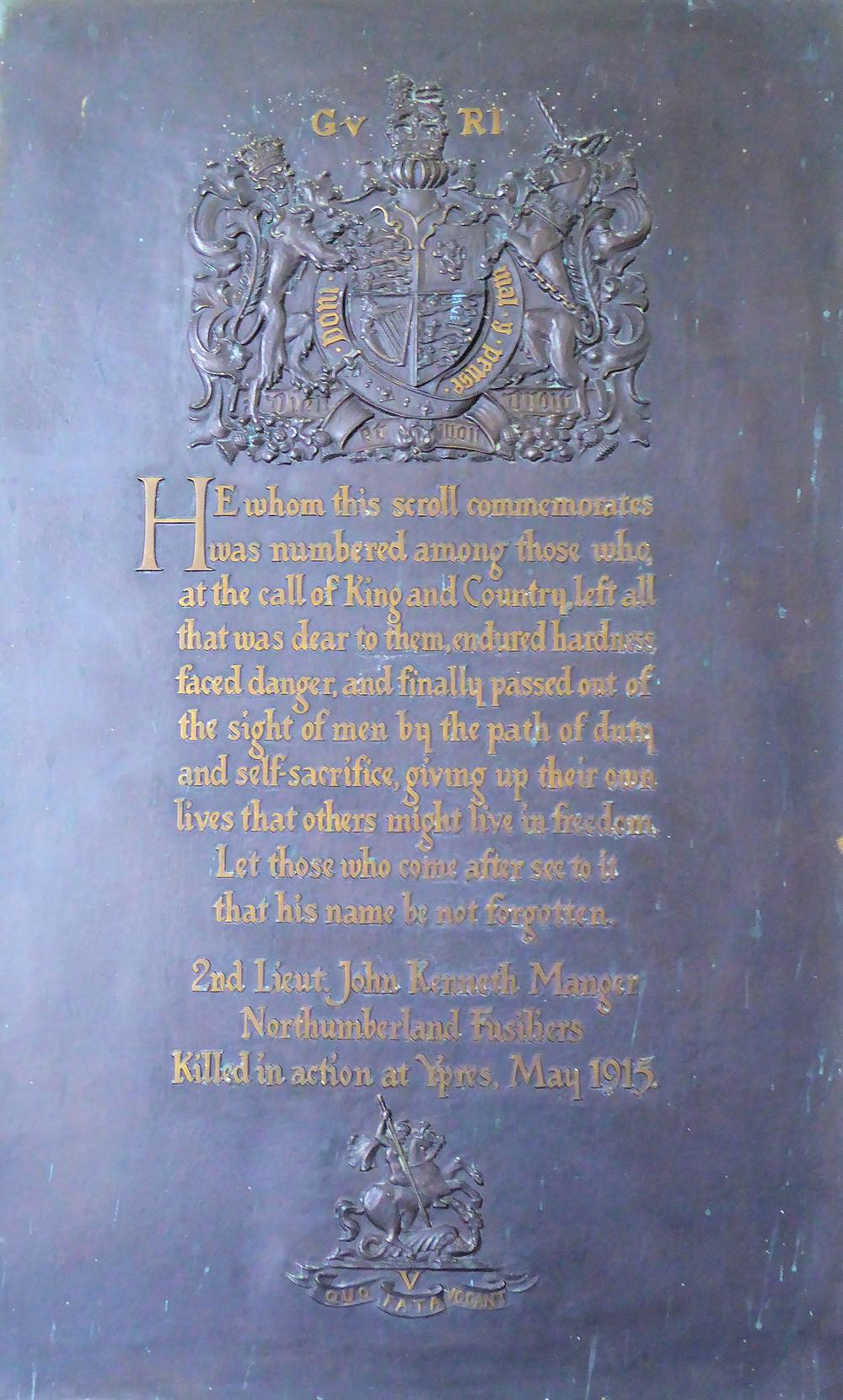 Memorial to 2nd Lt. John Kenneth Manger