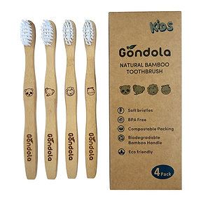 Kids Natural Bamboo Toothbrush - 4 Pack
