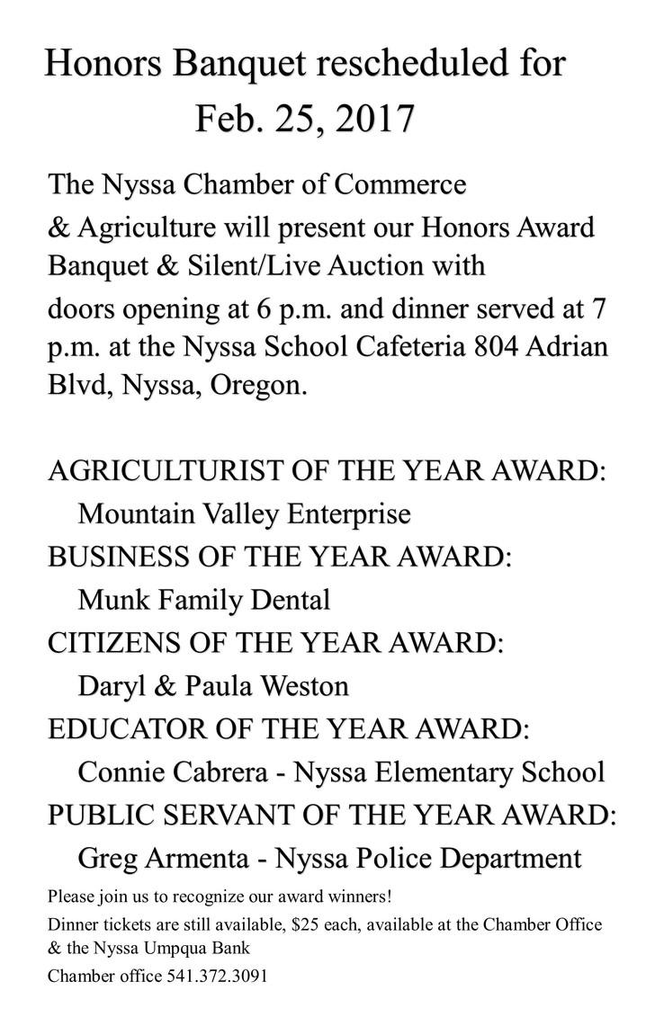 2017 Honors Banquet FEB 25