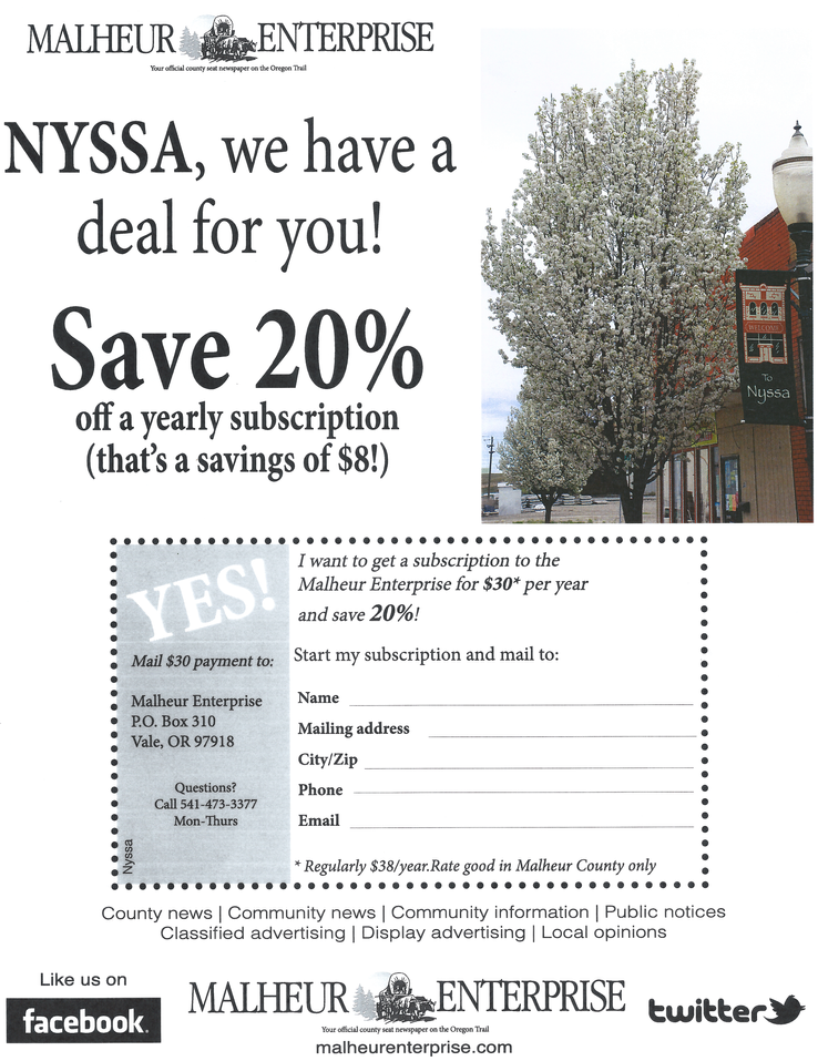 Malheur Enterprise, 20% OFF yearly subscription! (Nyssa citizens)
