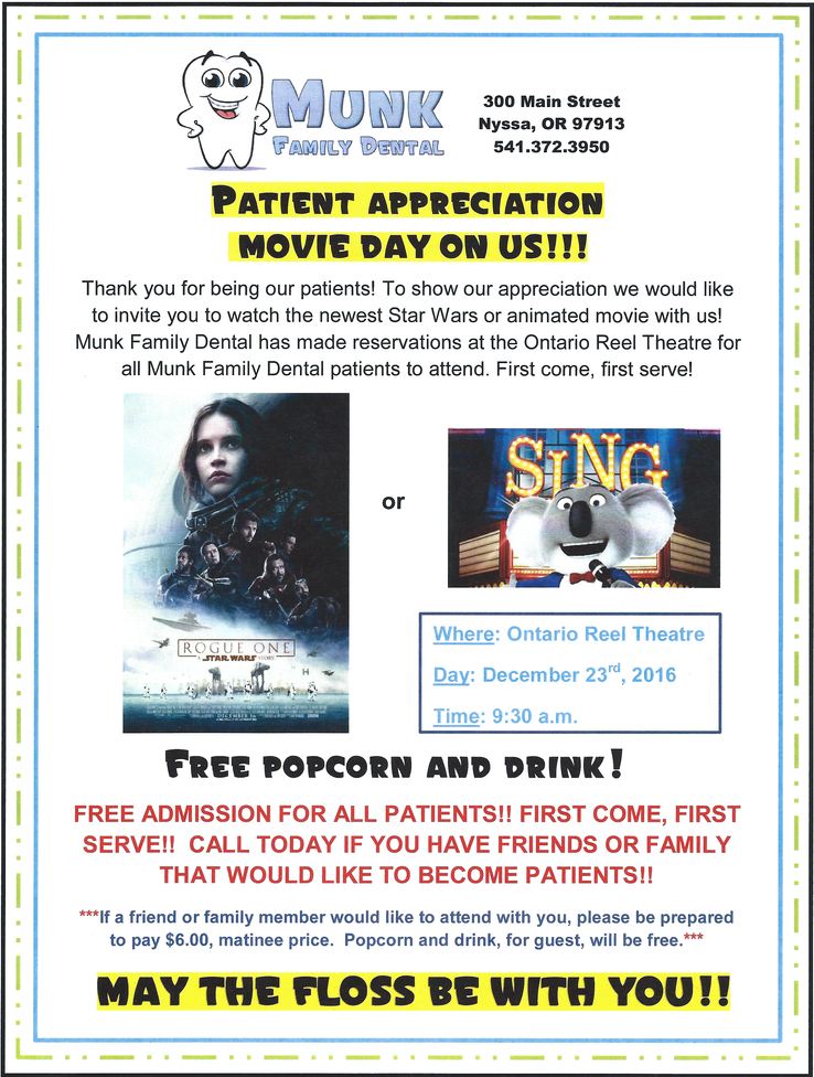 Patient Appreciation Movie Day, by Munk Family Dental