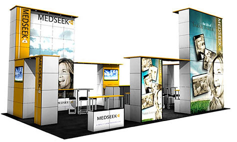 Customize your display. 40' x 20' island booth comprised of several matching MultiQuad elements