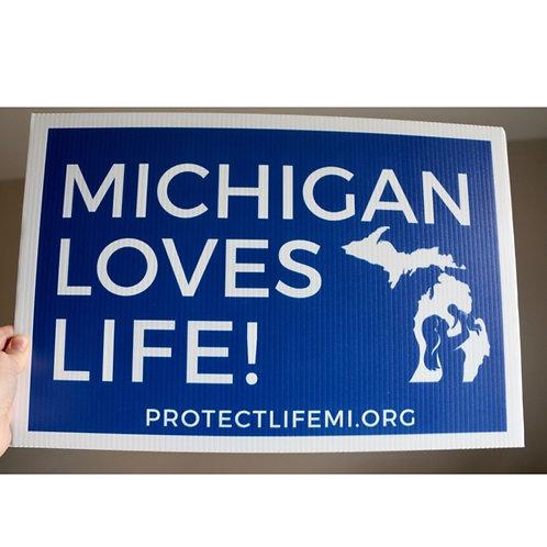 MI Loves Life/Human Rights Sign