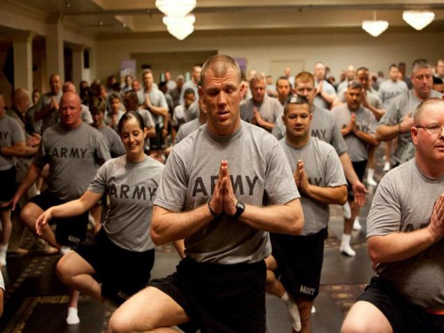 army soldiers doing yoga