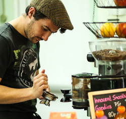 Luke making coffee.
