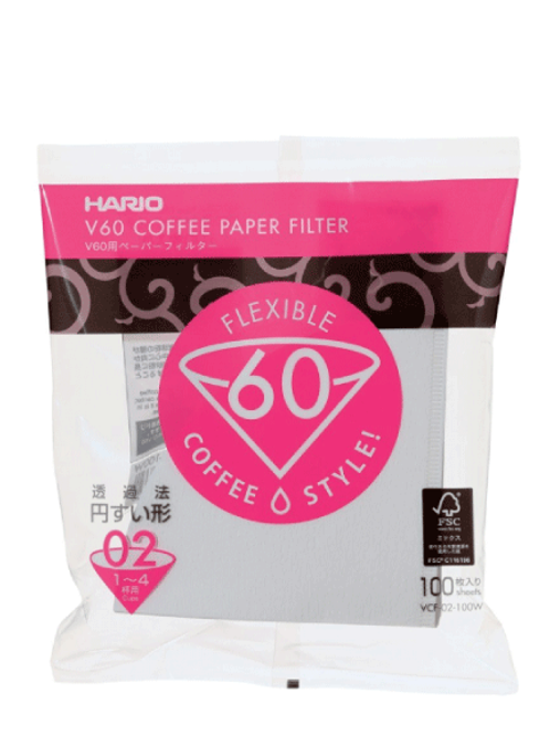 فلاتر ورقية بيضاء مقاس 02 من هاريو 100 حبة